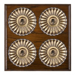Hamilton Bloomsbury Ovolo Dark Oak Fluted Antique Brass 4 Gang 2 Way Toggle with Black Insert