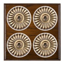 Hamilton Bloomsbury Ovolo Dark Oak Fluted Antique Brass 4 Gang 2 Way Toggle with White Insert
