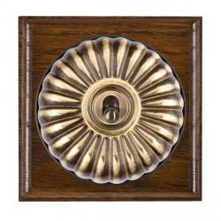 Hamilton Bloomsbury Ovolo Dark Oak Fluted Antique Brass 1 Gang Intermediate Toggle with Black Insert