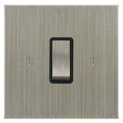 Focus SB Ambassador Square Corners NASN11.1B 1 gang 20 amp 2 way rocker switch in Satin Nickel with black inserts