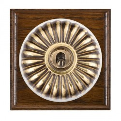 Hamilton Bloomsbury Ovolo Dark Oak Fluted Antique Brass 1 Gang Double Pole Toggle with White Insert