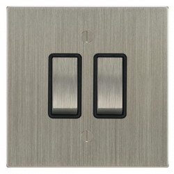 Focus SB Ambassador Square Corners NASN11.2B 2 gang 20 amp 2 way rocker switch in Satin Nickel with black inserts