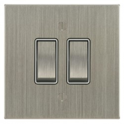 Focus SB Ambassador Square Corners NASN11.2W 2 gang 20 amp 2 way rocker switch in Satin Nickel with white inserts