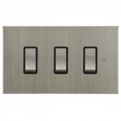 Focus SB Ambassador Square Corners NASN11.3B 3 gang 20 amp 2 way rocker switch in Satin Nickel with black inserts