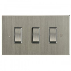 Focus SB Ambassador Square Corners NASN11.3W 3 gang 20 amp 2 way rocker switch in Satin Nickel with white inserts