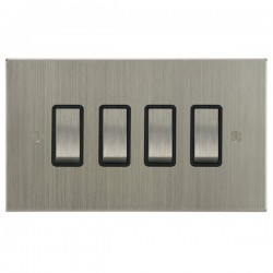 Focus SB Ambassador Square Corners NASN11.4B 4 gang 20 amp 2 way rocker switch in Satin Nickel with black inserts