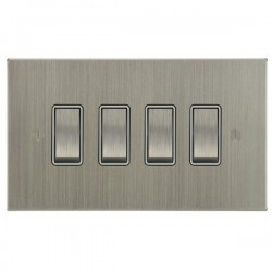 Focus SB Ambassador Square Corners NASN11.4W 4 gang 20 amp 2 way rocker switch in Satin Nickel with white inserts