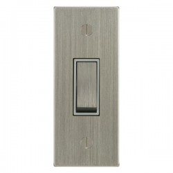 Focus SB Ambassador Square Corners NASN16.1W 1 gang 20 amp 2 way architrave switch in Satin Nickel with white inserts