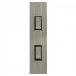 Focus SB Ambassador Square Corners NASN16.2W 2 gang 20 amp 2 way architrave switch in Satin Nickel with white inserts