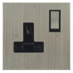 Focus SB Ambassador Square Corners NASN18.1B 1 gang 13 amp switched socket in Satin Nickel with black inserts