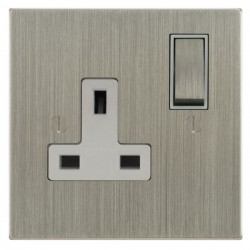 Focus SB Ambassador Square Corners NASN18.1W 1 gang 13 amp switched socket in Satin Nickel with white inserts