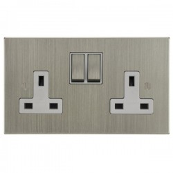 Focus SB Ambassador Square Corners NASN18.2W 2 gang 13 amp switched socket in Satin Nickel with white inserts