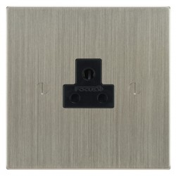 Focus SB Ambassador Square Corners NASN19.1B 1 gang 2 amp unswitched socket in Satin Nickel with black inserts
