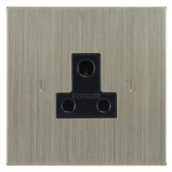 Focus SB Ambassador Square Corners NASN20.1B 1 gang 5 amp unswitched socket in Satin Nickel with black inserts