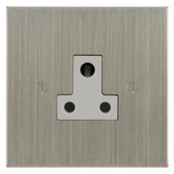 Focus SB Ambassador Square Corners NASN20.1W 1 gang 5 amp unswitched socket in Satin Nickel with white inserts