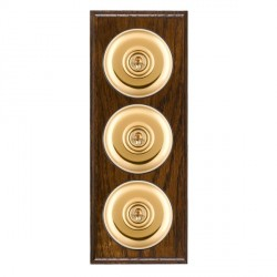 Hamilton Bloomsbury Ovolo Dark Oak Plain Polished Brass 3 Gang 2 Way Toggle with Black Insert