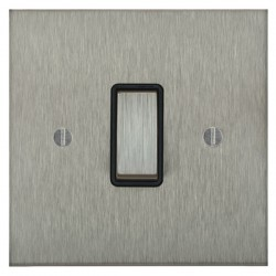 Focus SB Ambassador Square Corners NASS11.1B 1 gang 20 amp 2 way rocker switch in Satin Stainless with black inserts