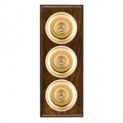 Hamilton Bloomsbury Ovolo Dark Oak Plain Polished Brass 3 Gang 2 Way Toggle with White Insert