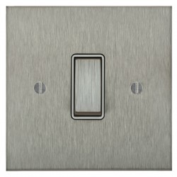 Focus SB Ambassador Square Corners NASS11.1W 1 gang 20 amp 2 way rocker switch in Satin Stainless with white inserts