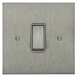 Focus SB Ambassador Square Corners NASS11.1/3W 1 gang 20 amp Intermediate rocker switch in Satin Stainless with White Inserts