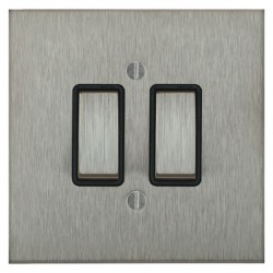Focus SB Ambassador Square Corners NASS11.2B 2 gang 20 amp 2 way rocker switch in Satin Stainless with black inserts