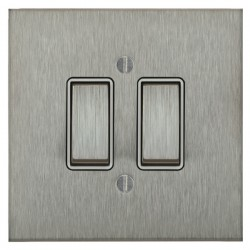 Focus SB Ambassador Square Corners NASS11.2W 2 gang 20 amp 2 way rocker switch in Satin Stainless with white inserts