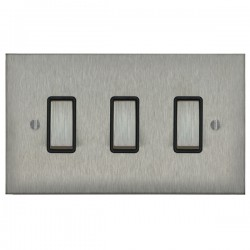 Focus SB Ambassador Square Corners NASS11.3B 3 gang 20 amp 2 way rocker switch in Satin Stainless with black inserts