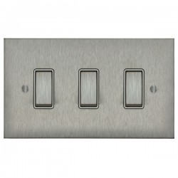 Focus SB Ambassador Square Corners NASS11.3W 3 gang 20 amp 2 way rocker switch in Satin Stainless with white inserts