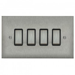 Focus SB Ambassador Square Corners NASS11.4B 4 gang 20 amp 2 way rocker switch in Satin Stainless with black inserts