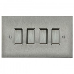 Focus SB Ambassador Square Corners NASS11.4W 4 gang 20 amp 2 way rocker switch in Satin Stainless with white inserts