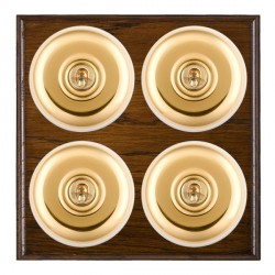 Hamilton Bloomsbury Ovolo Dark Oak Plain Polished Brass 4 Gang 2 Way Toggle with White Insert