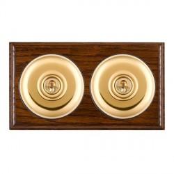 Hamilton Bloomsbury Ovolo Dark Oak Plain Polished Brass 2 Gang Intermediate Toggle with Black Insert