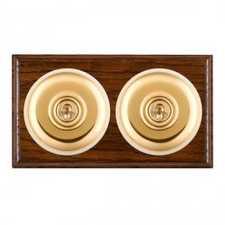 Hamilton Bloomsbury Ovolo Dark Oak Plain Polished Brass 2 Gang Intermediate Toggle with White Insert