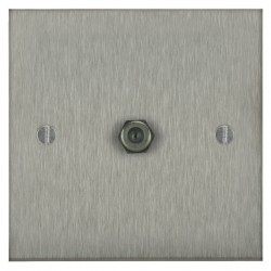 Focus SB Ambassador Square Corners NASS54.1 1 gang satellite socket in Satin Stainless