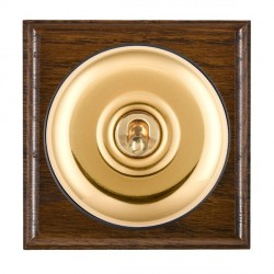 Hamilton Bloomsbury Ovolo Dark Oak Plain Polished Brass 1 Gang Double Pole Toggle with Black Insert