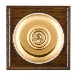 Hamilton Bloomsbury Ovolo Dark Oak Plain Polished Brass 1 Gang Double Pole Toggle with Black Insert