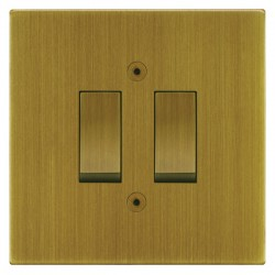 Focus SB Horizon Square Corners NHAB11.2 trimless 2 gang 20 amp 2 way rocker switch in Antique Brass