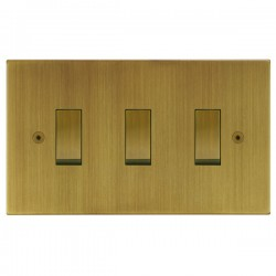 Focus SB Horizon Square Corners NHAB11.3 trimless 3 gang 20 amp 2 way rocker switch in Antique Brass