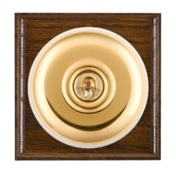 Hamilton Bloomsbury Ovolo Dark Oak Plain Polished Brass 1 Gang Double Pole Toggle with White Insert