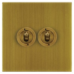 Focus SB Horizon Square Corners NHAB14.2 2 gang 20 amp 2 way toggle switch in Antique Brass
