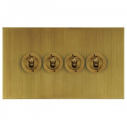 Focus SB Horizon Square Corners NHAB14.4 4 gang 20 amp 2 way toggle switch in Antique Brass