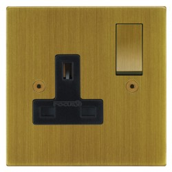 Focus SB Horizon Square Corners NHAB18.1B 1 gang 13 amp switched socket in Antique Brass with black inserts