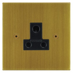 Focus SB Horizon Square Corners NHAB20.1B 1 gang 5 amp unswitched socket in Antique Brass with black inserts
