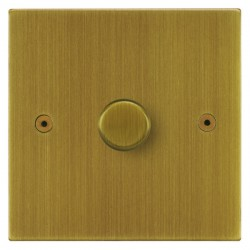 Focus SB Horizon Square Corners NHAB21.1 1 gang 2 way 250W (mains and low voltage) dimmer in Antique Brass