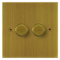 Focus SB Horizon Square Corners NHAB21.2 2 gang 2 way 250W (mains and low voltage) dimmer in Antique Brass