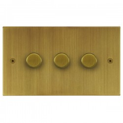 Focus SB Horizon Square Corners NHAB21.3 3 gang 2 way 250W (mains and low voltage) dimmer in Antique Brass
