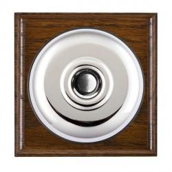 Hamilton Bloomsbury Ovolo Dark Oak Plain Bright Chrome Bell Push Toggle with Black Insert