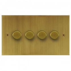 Focus SB Horizon Square Corners NHAB21.4 4 gang 2 way 250W (mains and low voltage) dimmer in Antique Brass