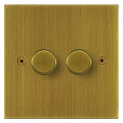 Focus SB Horizon Square Corners NHAB22.2 2 gang 2 way 400W (mains and low voltage) dimmer in Antique Brass