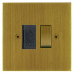 Focus SB Horizon Square Corners NHAB26.1B 13 amp switched fuse spur in Antique Brass with black inserts